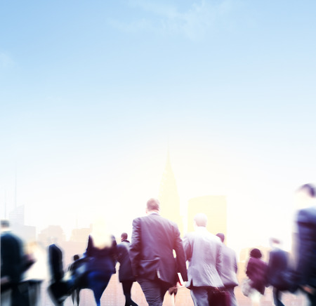 career life: Business People Rush Hour Walking Commuting City Concept