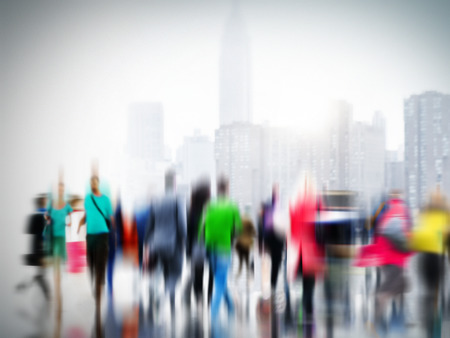 blurry: Casual People Rush Hour Walking Commuting City Concept