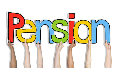 pension: Multiethnic Group of Hands Holding Letter Pension