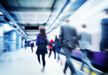 subway platform: Business People Walking Commuter Travel Motion City Concept Stock Photo