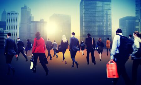 business district: Commuter Business District Walking Crowd Cityscape Concept