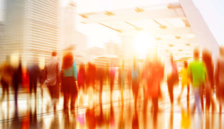 commuting: Casual People Rush Hour Walking Commuting City Concept