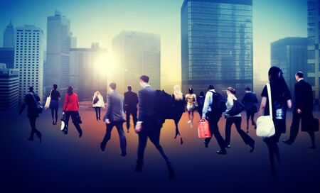 people travelling: Commuter Business District Walking Crowd Cityscape Concept