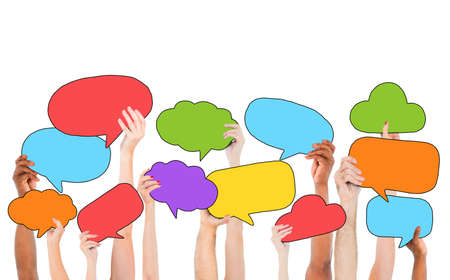 medium group of people: People Holding Multicolored Speech Bubbles and Cloud Symbols