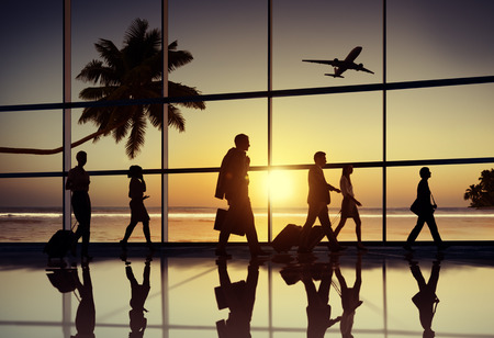 transportation travel: Back Lit Business People Traveling Airplane Airport Concept