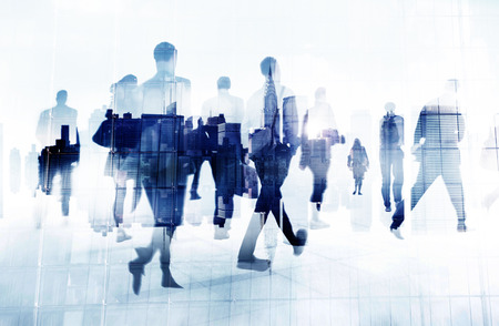 people walking: Commuter Business People Cityscape Corporate Travel Concept