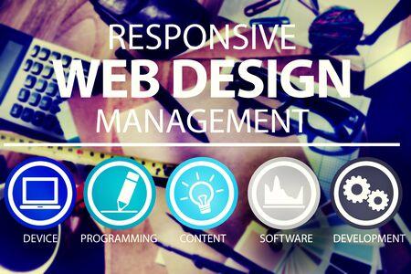 bureau design: Web Responsive Design Management Concept de programmation Banque d'images