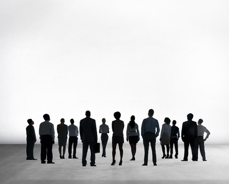 other keywords: Silhouette Business People Isolated on White Rear View Concept