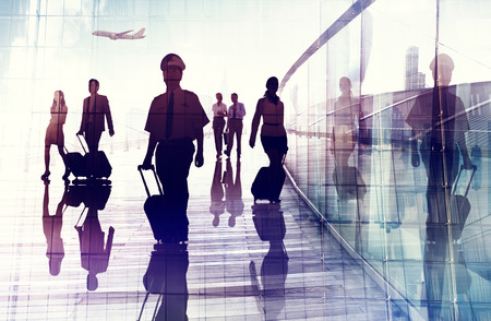 business travel: Travel Airport Business Cabin Crew Business Travel Concept Stock Photo