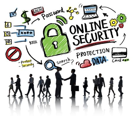online security: Online Security Protection Internet Safety Business Handshake Concept
