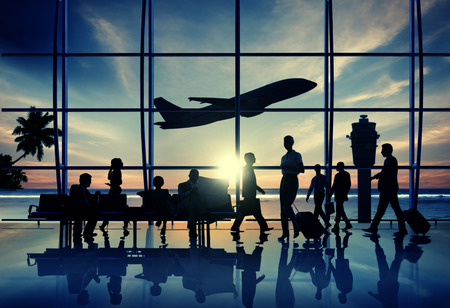 airport business: Back Lit Business People Traveling Airplane Airport Concept