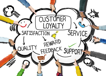 Customer Loyalty Satisfaction Support Strategy Concept Banco de Imagens