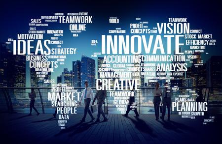 executive team: Innovation Inspiration Creativity Ideas Progress Innovate Concept Stock Photo