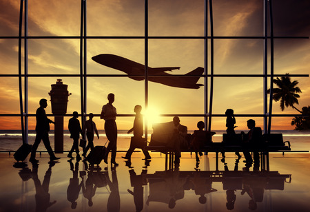 Business People Airport Beach Waiting Flight Corporate Concept Stockfoto
