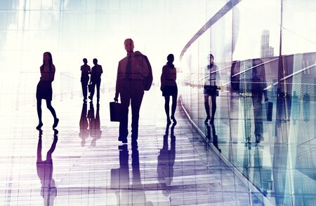 occupation: Business People Travel Walking Commuter Corporate Occupation Concept Stock Photo