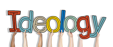 ideology: Group of Hnads Holding Word Ideology
