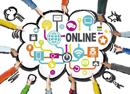social networking: Global Online Communication Social Networking Technology Concept