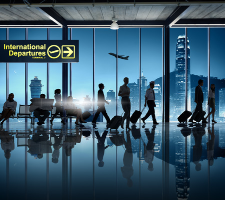 Silhouette Business People Cabin Crew Airport Business Travel