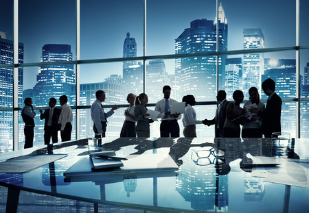 conference room meeting: Group of Business People Working in the Office Stock Photo