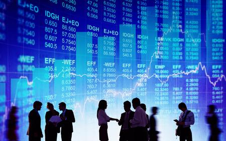 bolsa de valores: Silueta Business People Discusión Stock concepto de mercado