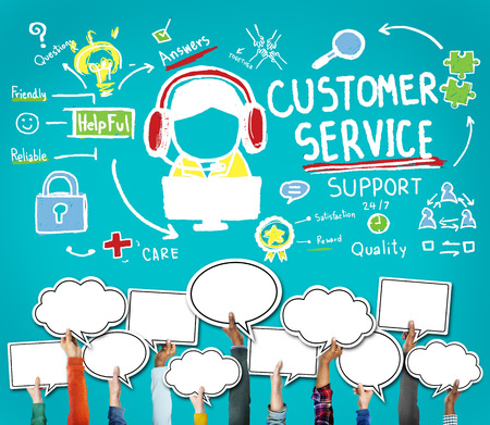 Customer Service Call Center Agent Care Concept Foto de archivo