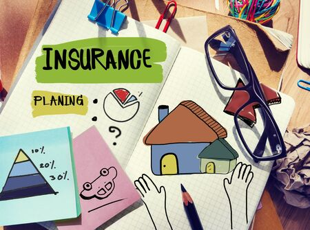 messy desk: Messy Desk with Insurance Related Notes