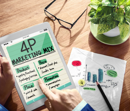 marketing mix: Digital Onine 4P Marketing Mix Office Working Concept