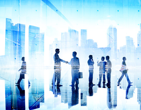Business People Handshake Agreement Cityscape Corporate Deal Concept Stock fotó