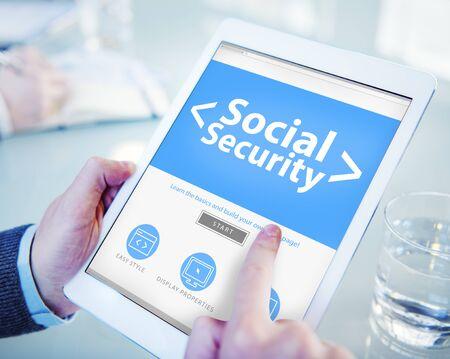 Protección Digital Línea de Seguridad Social Oficina Concepto Foto de archivo - 41319075
