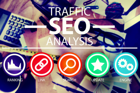 search engine marketing: Search Engine Optimisation Analysis Information Data Concept Stock Photo