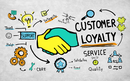 excellent customer service: Customer Loyalty Service Support Care Trust Tools Concept Stock Photo