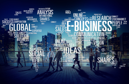 alrededor del mundo: E-Business Global Comercio de negocios en l�nea concepto del mundo Foto de archivo