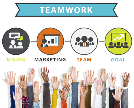 team vision: Team Vision Marketing Goal Corporate Teamwork Concept