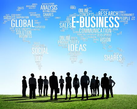 商業オンラインの世界の E ビジネスのグローバル ビジネス コンセプト 写真素材