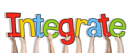 merging together: Group of Hands Holding Word Integrate
