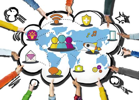 communications: Social Network Sharing Global Communications Connection Concept Stock Photo