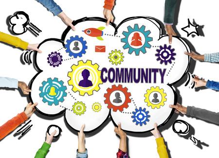 comunidad: Comunidad Sociedad Cultura Población Tradición equipo Unión Concept Foto de archivo