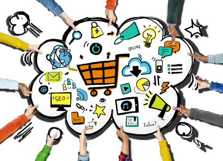 commerce: Diversity Hands Online Marketing Commerce Volunteer Support Concept
