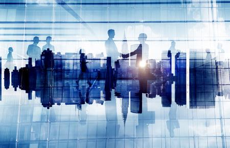 Business People Handshake Agreement Cityscape Corporate Deal Concept Banco de Imagens