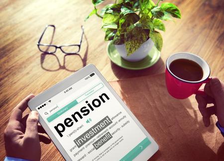 Pension Retirement Income compensation Office Business Concept Banque d'images