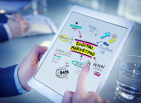 Digital Marketing Branding Strategy Online Media Concept Stockfoto
