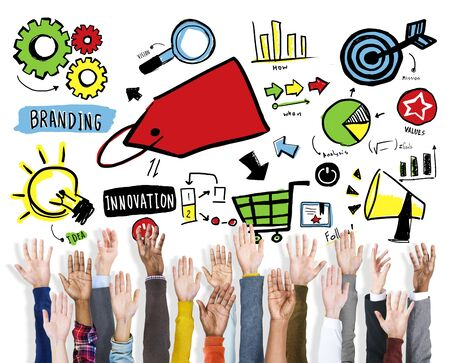 Diversity Hands Branding Volunteer Teamwork Support Concept Stock Photo