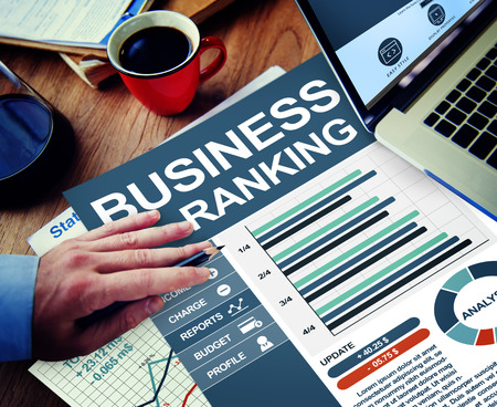 corporate vision: Business Ranking Working Calculating Thinking Planning Paperwork Concept Stock Photo