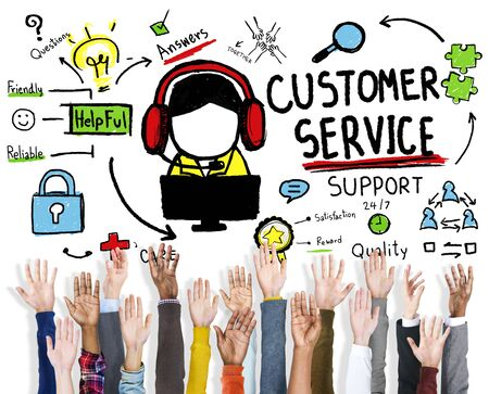 reach customers: Customer Service Support Assistance Service Help Guide Concept