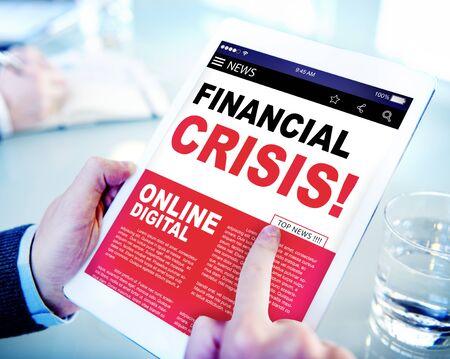 financiele crisis: Digital Online News Headline Financial Crisis Concept Stockfoto