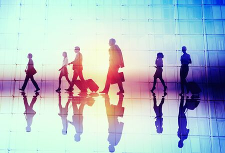 business people walking: Silhouette People Meeting Cityscape Team Concept