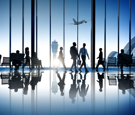 Busy Business People Silhouette Walking Airport Business Travel