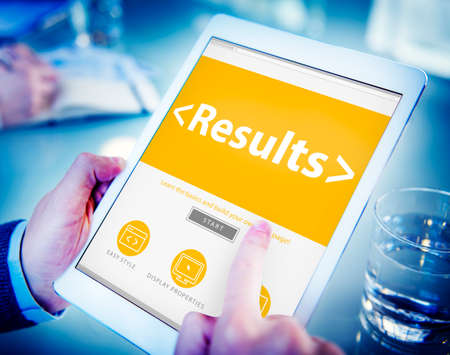 outcome: Digital Online Results Outcome Effect Product Browsing Concept Stock Photo