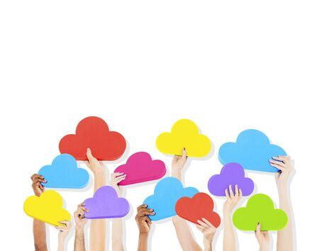 social gathering: Diversity Hands The Cloud Data Icons Ideas Concept