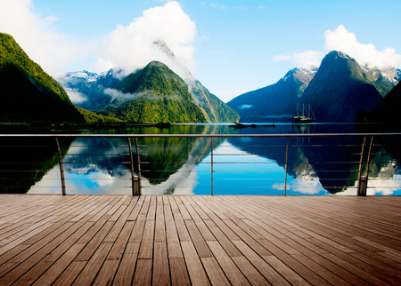 serene landscape: Milford Sound New Zealand Travel Destination Concept